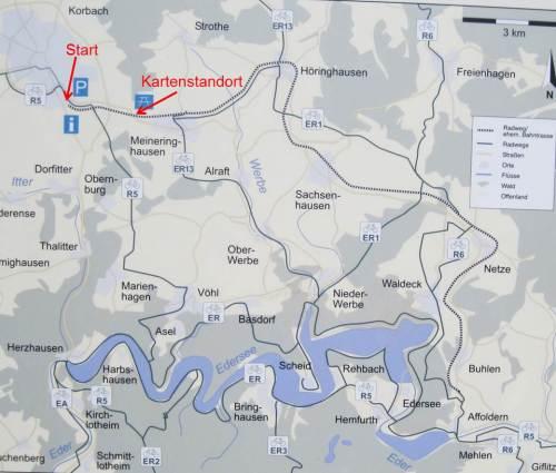 Die Karte zeigt, wie`s weiter geht: durch Höringhausen, Sachsenhausen nach Netze, alles inzwischen Ortsteile der Stadt Waldeck.