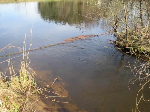 """Der Wassereintritt in den Fischpass mit Schwimmstoffabweiser. Überbreit gebaut werden im Vordergrund die """"Sandfang-Folgen"""" in Ansätzen deutlich. Baggern bringt da keine Lösung."""