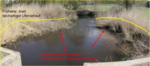 Die aufgeweiteten Tümpelbereiche (gelbe Darstellung der ursprünglichen Uferlinie) - in der Planung als Rastkolke gedacht  - fungierten im Erosions-Sand führenden Tieflandgewässer als Sandfänge. Die Gesamtfläche der Tümpel war ca. 2-5 cm schwach mit Wasser überflossen, in Betonnähe sorgte die dort gebündelte Strömung für kleine, abgesonderte Tiefwasserbereiche ober- und unterstroms.