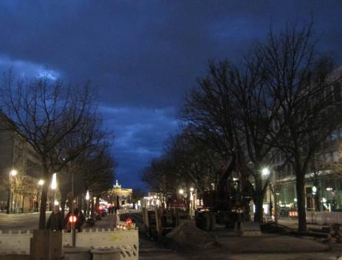 """Es dunkelt """"Unter den Linden"""" - baustellenbedingt werden alle Bäume durch neue ersetzt. Diese stehen noch."""