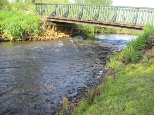 Beliebte Querungsstelle für Fußgänger und Radfahrer. Der Gewässermensch sieht - wie fast an jeder Brücke - den zu verbessernden Erosionsabriss.