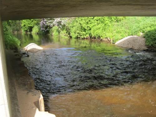 Da isser ja, der erste Kies-Lkw! Sehr schön aufgeteilt liegt der Inhalt oberhalb der Hörstener Brücke, bereit, von höheren Seeveabflüssen fortgetragen zu werden und an geeigneter Stelle künftig als Laichplatz zu dienen.