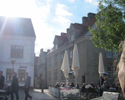 Es wird später, ein dänischer Sommerabend. Ich lerne: da isst man im Freien auf dem Platz.