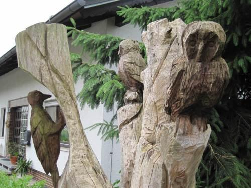 Holzfiguren typischer Vögel dieser Gegend - Anwohner identifizieren sich.