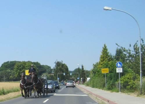 Kleiner Verkehrsstau in Bendestorf - Hochzeits- und Heidekutsche (voraus) begegneten sich.
