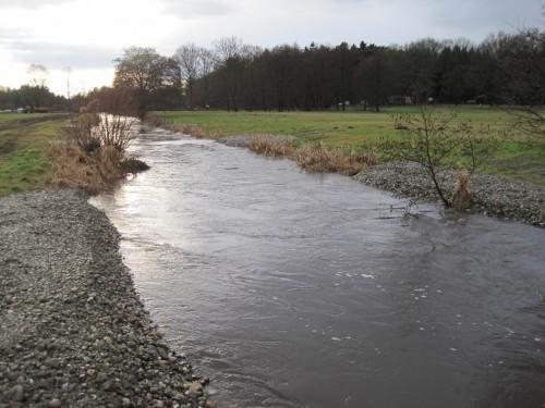 Blick Wehr-aufwärts, der Kieseinbau wirkt strömungslenkend wie geplant, das Hochwasser läuft problemlos darüber.