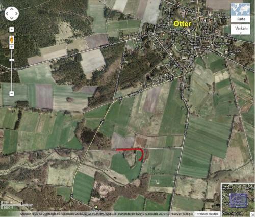 Über 200 m Teerweg sind mit Gülle besudelt bei Otter, Niedersachsen.