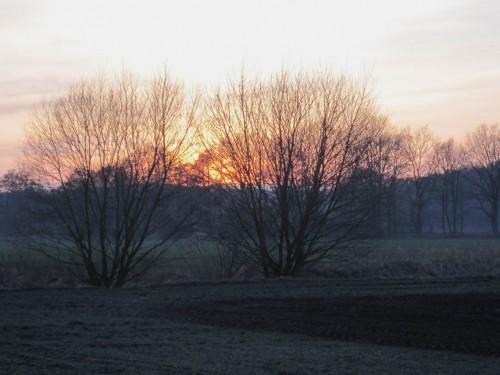 Auch über den Harmstorfer Dorbach, Bükbeek, ein netter Anblick. - Für die Seeve-Aue wünscht man sich allerdings etwas anderes als Acker.