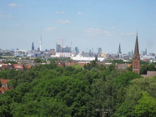Blick nach Norden über das grüne Wilhelmsburg.