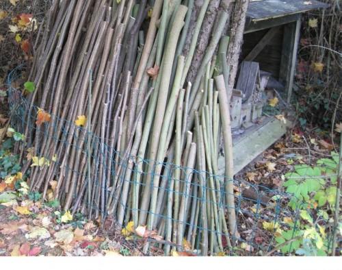 Lagerplatz 2, vorn frische Weide - 0,5 - 1 - 1,5 m lang, zum Trocknen aufgestellt. Die Hasel dahinter sind direkt verwendbar.