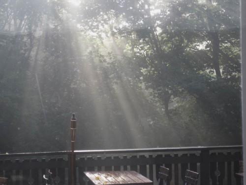 Wieder unten angekommen, beim Frühstück gibt sich die Sonne alle Mühe, den Nebel zu durchdringen.
