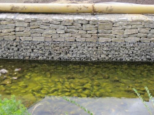 Schon sichtbar: Licht im Überschuss produziert Algen im Überfluss. - Die Gabionenbauweise immerhin statt vermörtelter Mauern oder gar Beton bietet eine Menge Kleinlebensräume für Tier- und Pflanzenwelt.