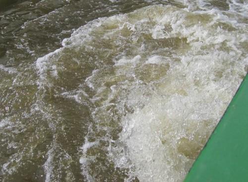 Die Barkasse wirbelt ordentlich Wasser beim Drehen. Zur Sauerstoffanreicherung reicht das gleichwohl nicht.