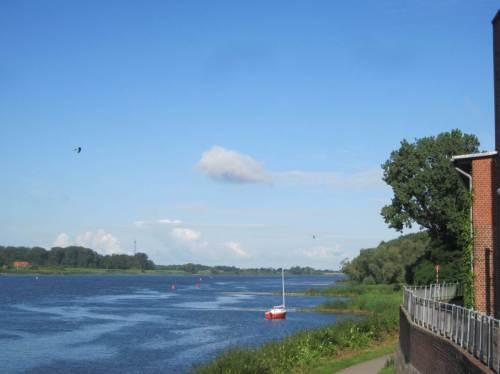 Aber an unserem Schiffstourtag zeigen hoch fliegende Mehlschwalben vor blauem Himmel und windgebürstetes Wasser auf der Elbe schönstes Fahrwetter an.