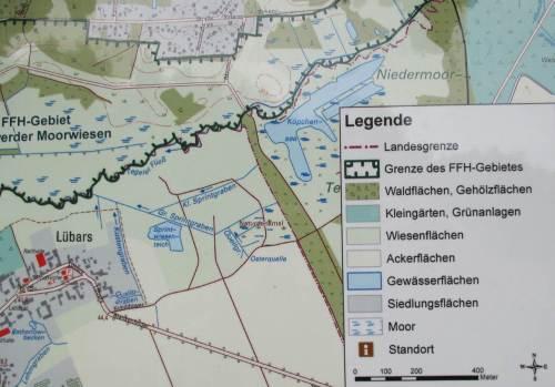 """Das wird ja noch interessant bis Lübars, ein See und eine Quelle liegen am Weg. Kartenausschnitt aus Info-Tafel """"Eichwerder Moorwiesen"""", Geobasisdaten © GeoBasis-DE/LGB 2015, GB-D 23/15 ."""