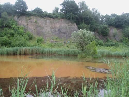 Steilwand vor Ockersee - nicht fotografiert befindet sich nebendran eine Karstquelle mit klarem Wasser, bevor auch dieses sich ins Ockerfarbene einmischt.