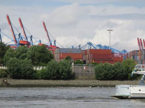 Hier mündet einer der größten westdeutschen Nebenflüsse in die Elbe - das weitergehend gereinigte Abwasser der Stadt Hamburg. Möwenschwärme kennzeichnen den Auslauf.