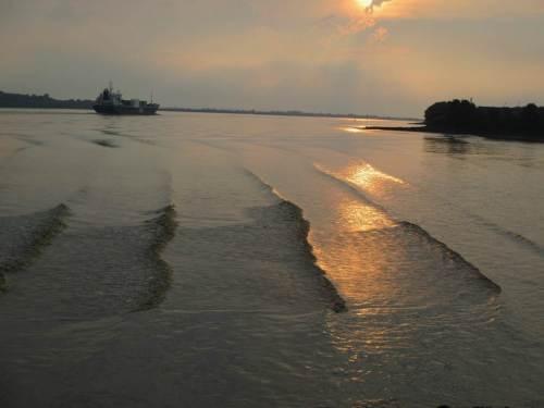 Windstille, ruhige Elbe - kleine Wellen durch vorbeifahrende Schiffe. Nett anzusehen.