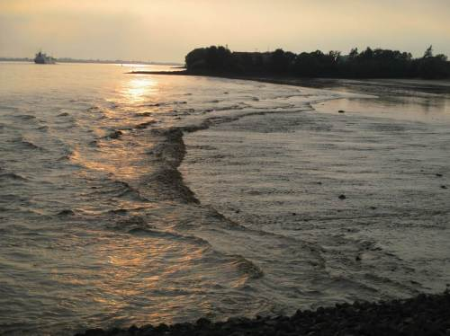 Die Querströmung beginnt, senkrecht zum Strand zu laufen.