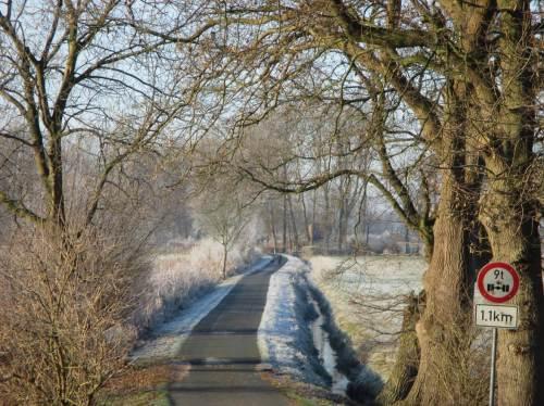 Blick vom Geestrand Sauernbeeksweg (schon komisch, wie so ein Bächlein den Namen ändert) in die Marsch - rau bereift.