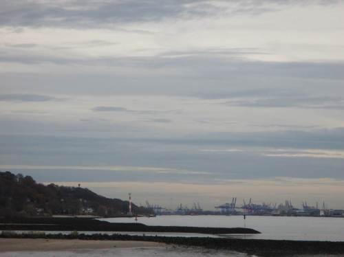 Blick gen Osten, Blankeneser Elbhang-Panorama, ContainerHafenKräne.