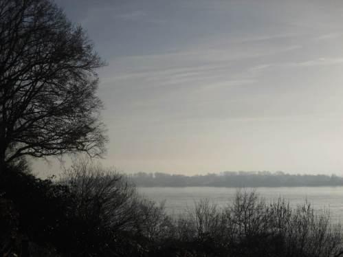 Morgensonne über der Elbe am Leuchtturmweg - wie schön, der Wetterbericht hatte ganztags Nebel angesagt.