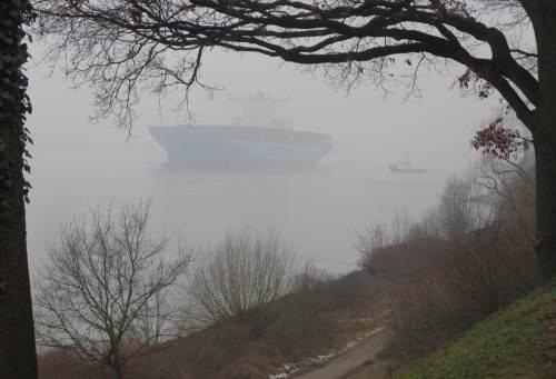 Durch den Winterdies arbeitet sich ein GroßContainerFrachter mit beobachtendem Schlepper elbaufwärts. Die Edith Maersk ist 398 m lang, 56 breit und geht ca. 11 m tief.