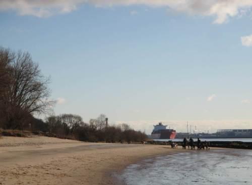 Strand kurz vor Blankenese - die HundeSitterinnen sind auf dem Rückweg. Auch wir kehren um.